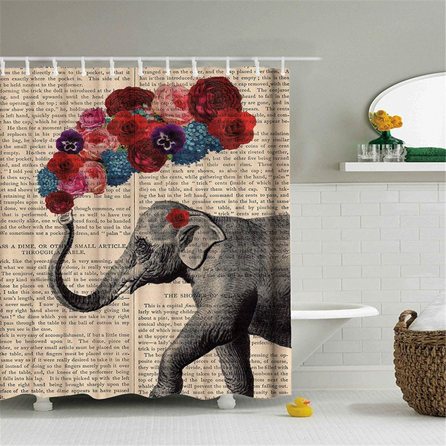 hipaopao Cute Elephant Flower Pattern Shower Curtain African Wildlife Animal Vintage Fabric Bathroom Decor with Hooks Waterproof Washable 72 x 72 inches Grey Red Blue
