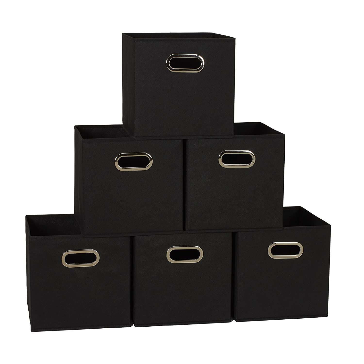 Household Essentials 80-1 Foldable Fabric Storage Bins | Set Of 6 Cubby Cubes With Handles | Black