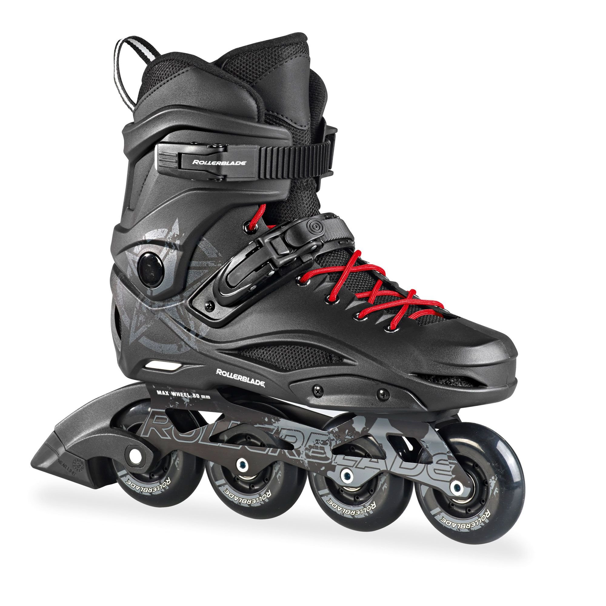 Rollerblade RB 80 Skates Black 25 & Headband Bundle