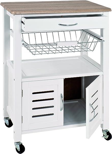 37 x H Rovere Bianco Chiaro W Haku M/öbel Carrello da Cucina 84 cm 58 x D