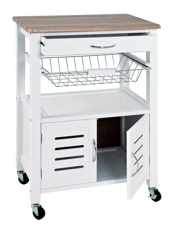 HAKU Furniture Kitchen Trolley, White-Light Oak, W: 58 x D: 37 x H: 84 cm