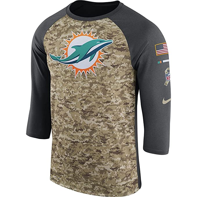 d58c019c Amazon.com: Nike Men's Miami Dolphins Dry Tee Legend 3/4 STS Raglan Shirt  Anthracite/Camo/White Size X-Large: Sports & Outdoors