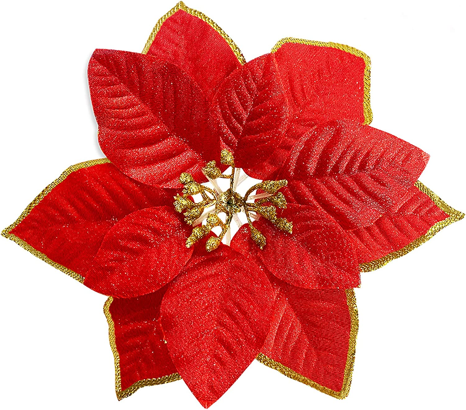 TURNMEON 8.7 Inch Giant Glitter Poinsettia, 12 Pcs Christmas Flowers Picks Decor Artificial Silk Flowers for Christmas Tree Ornaments Wreaths Garland Holiday Decoration (Red)