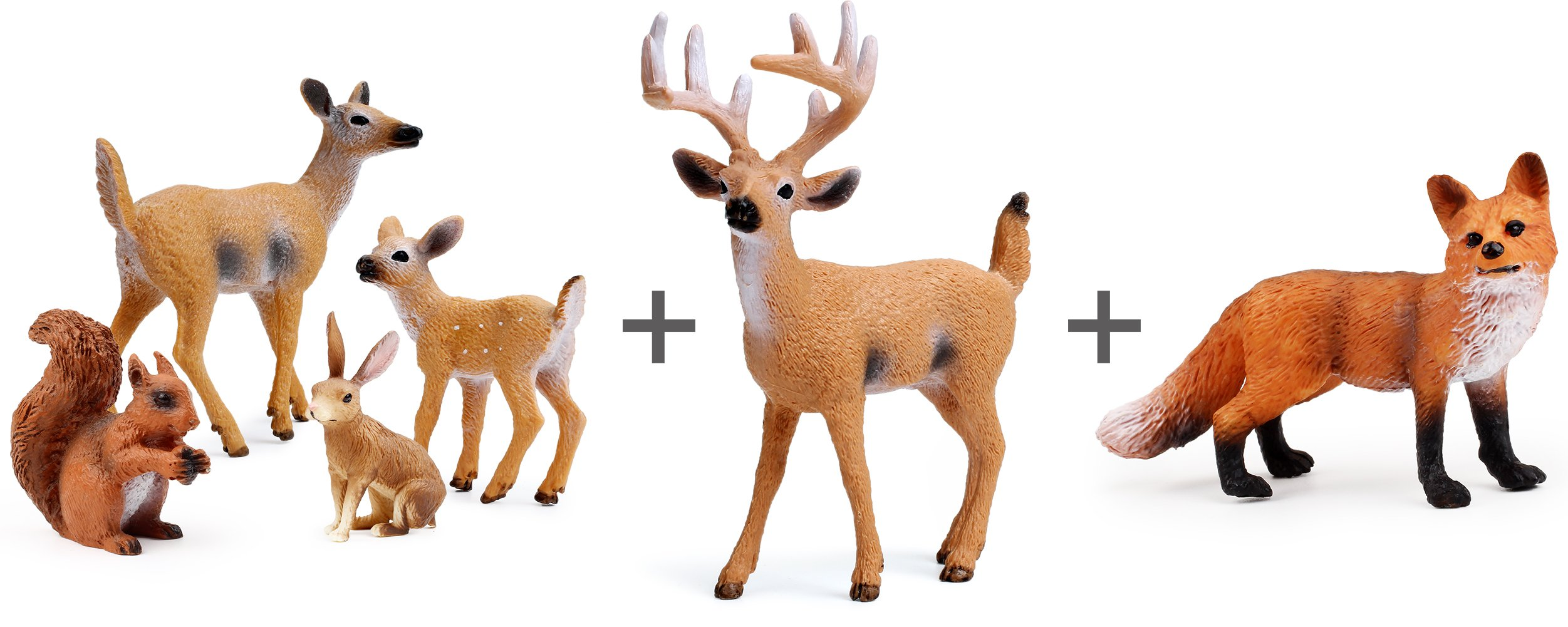 Miniature Deer Family Toy Figurines with Forest Animal Babies Set, Includes a Buck, Doe, Fawn, Rabbit, Squirrel and Fox