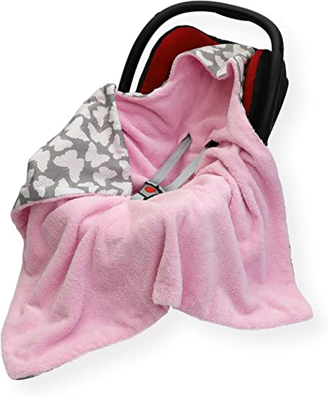 Sided 100 x 100cm Hooded Blanket with SEAT Belt Holes CAR SEAT Blanket//Cover//COSYTOES FOOTMUFF Double Unicorn//White