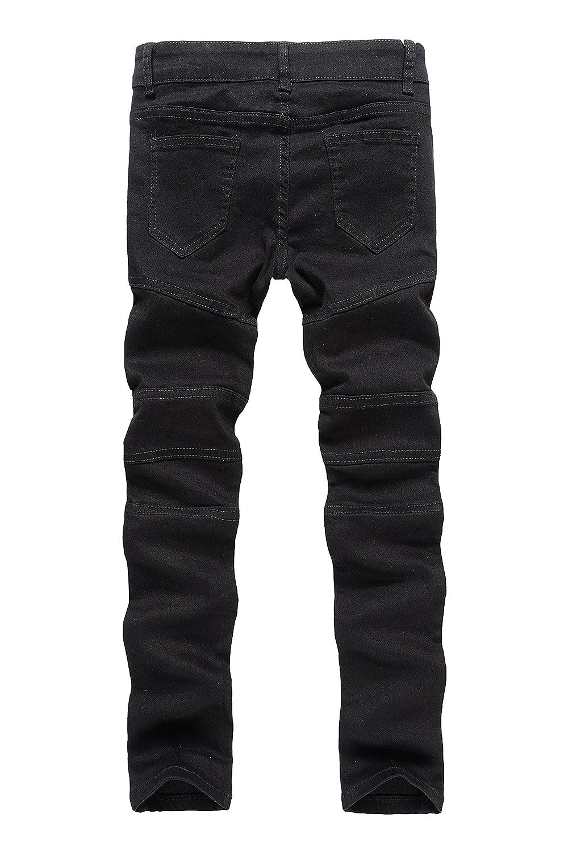 IA ROD CA Boys Khaki Biker Moto Ripped Distressed Fashion Skinny Slim Fit Jeans