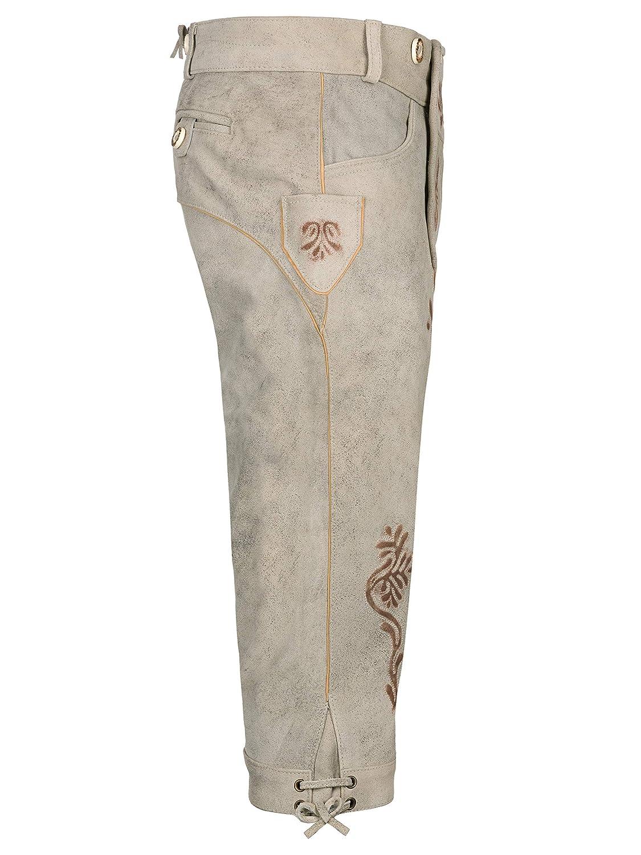 Almbock Herren Trachten Lederhose Vintage Original bayerische Lederhose Herren Tracht Trachtenhose Oktoberfest in der Farbe beige//grau von Gr 46-60