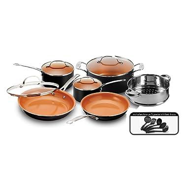 Gotham Steel 15-Piece Titanium and Ceramic Nonstick Copper Frying Pan and Cookware Set – Includes 5 Utensils