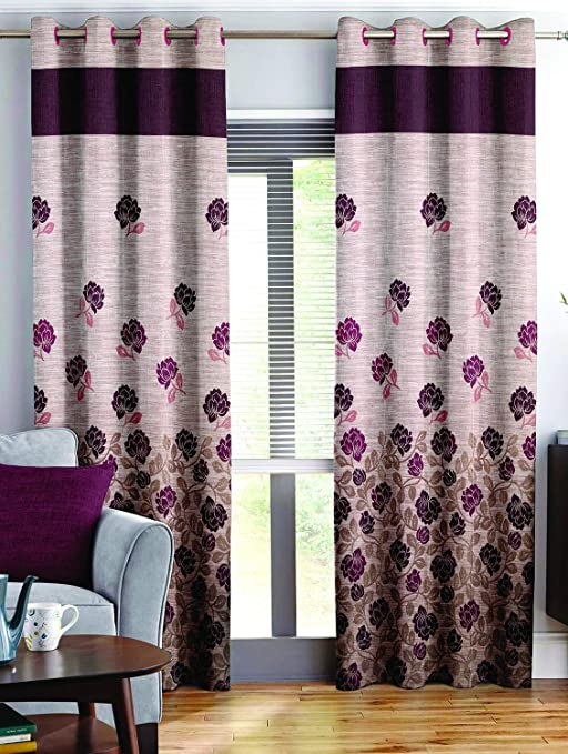 Story@Home Berry Blackout Floral Pattern 1 Piece Jacquard Window Curtains for Living Room and Bed Room - 5 Feet Long - Wine Red Curtains at amazon