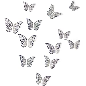 Elecmotive 36 Pcs 3d Colorful Crystal Butterfly Wall Stickers With