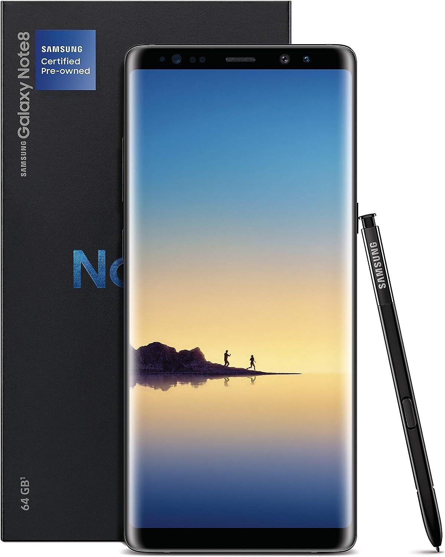 Samsung Galaxy Note8 Certified Pre-Owned Factory Unlocked Phone - 64GB - Black (1 Year Samsung U.S. Version) (Renewed)