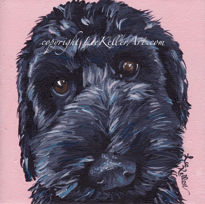 "Labradoodle print signed by artist Labradoodle dog art print 8x8/"""