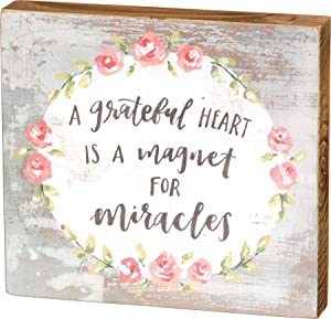 Primitives by Kathy Hand-Lettered Box Sign, Grateful Heart