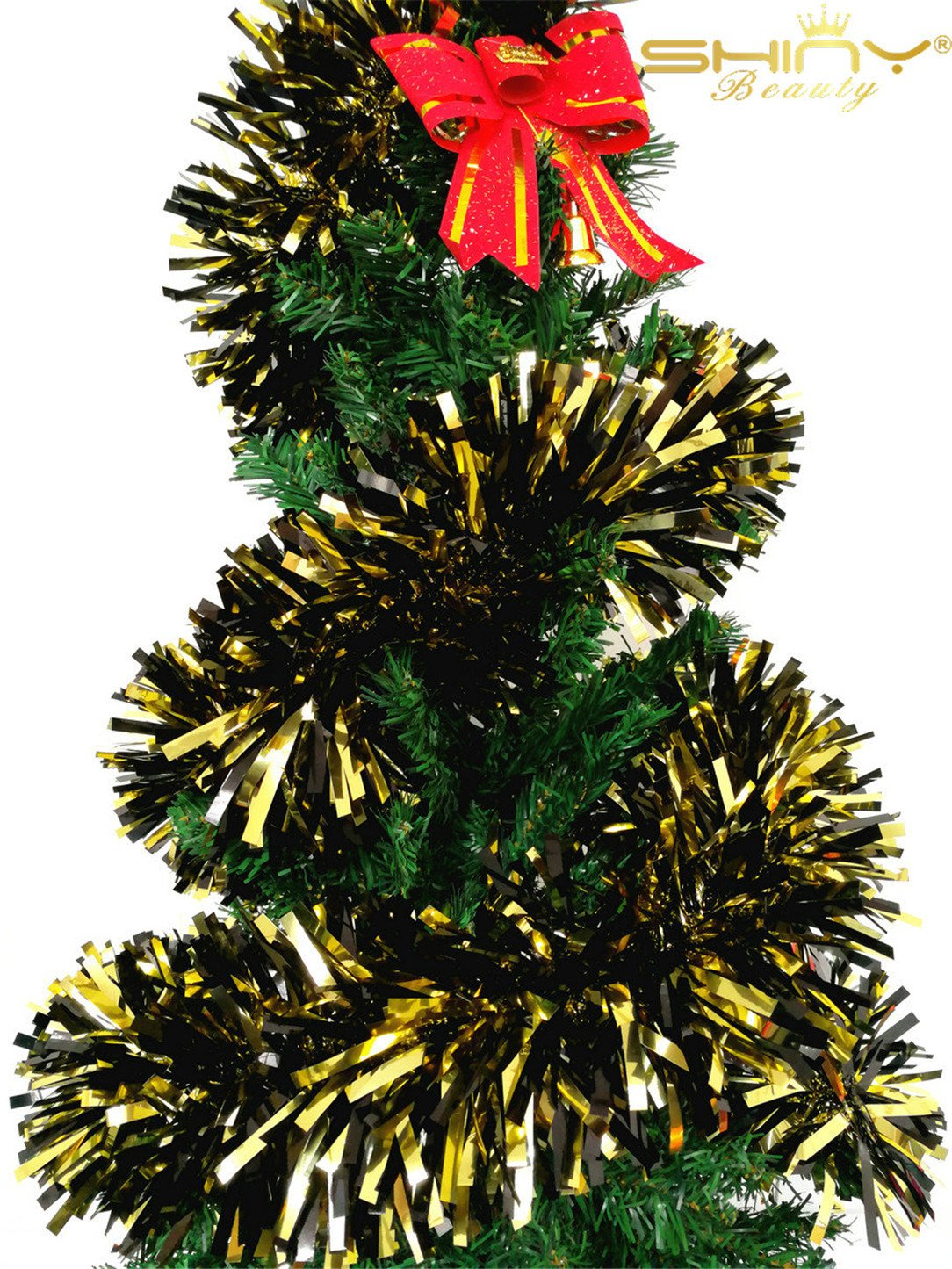 DUOBAO Christmas Tinsel Garland Thick and Full Tinsel Sparkly Classic Party Ornaments Hanging Christmas Tree Ceiling Decorations, 15 Pcs 6.5 Ft (2M) x 5.5 Inch Wide, Black & Gold ~1028S by DUOBAO