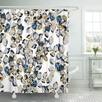 Amazon TOMPOP Shower Curtain Blue Gold Watercolor Leaves Leaf