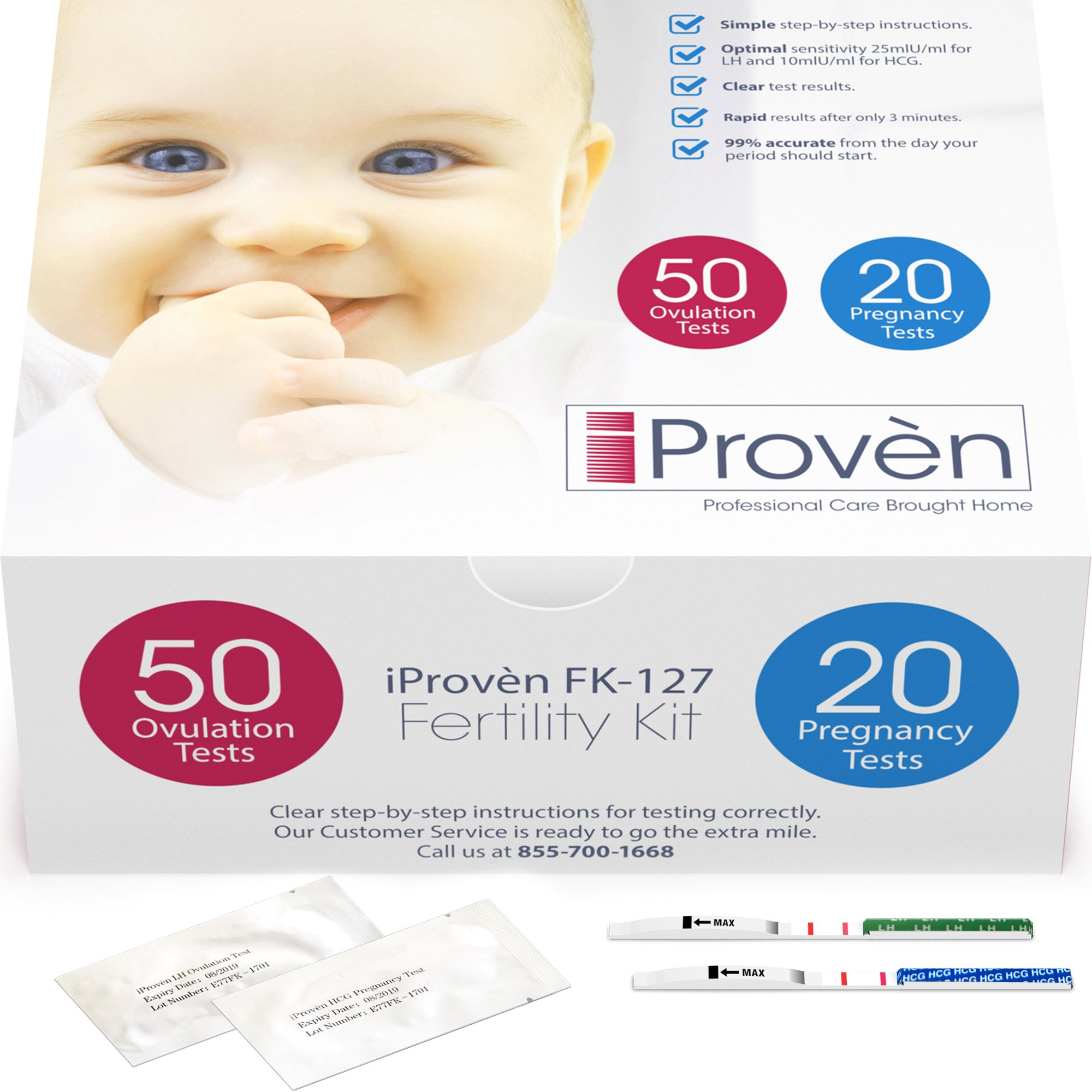 Ovulation Test Strips and Pregnancy Test Kit - 50 LH and 20 Hcg - OPK Ovulation Predictor Kit iProven FK-127 (50 LH & 20 Hcg) (0.12'' Strip Width)