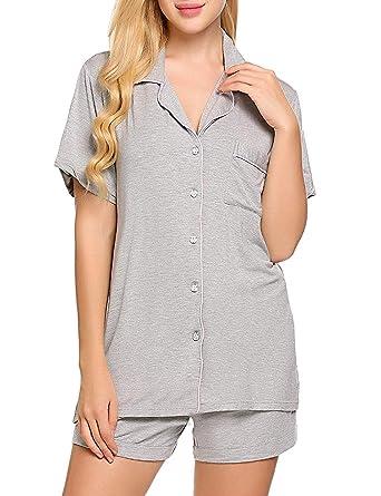 17fe3208ebd4ea Fanala Womens Pajama Sets Shirt   Short 2 Piece Summer Lounge Set Flower  Grey XS
