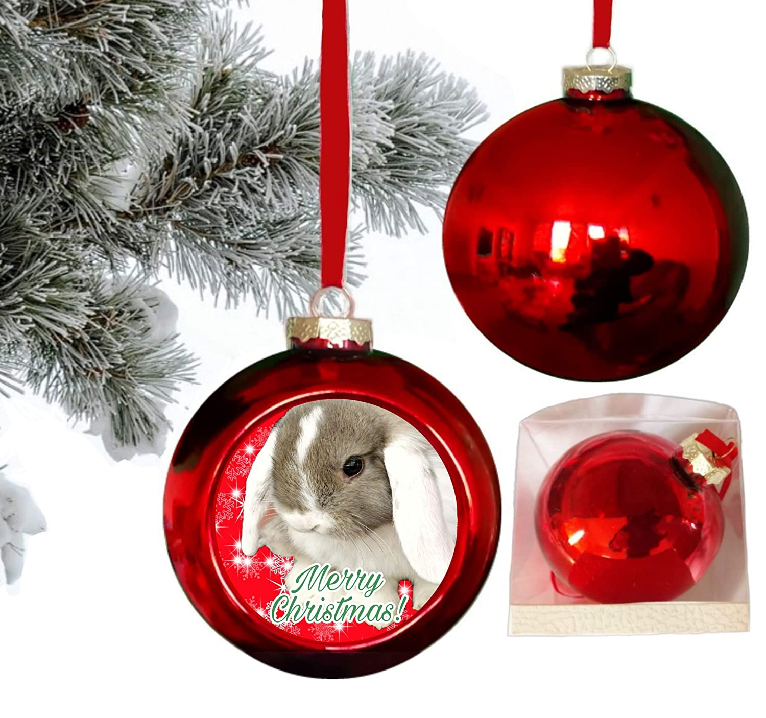 Lop Eared Bunny Rabbit Shiny Red Glass Hanging Christmas