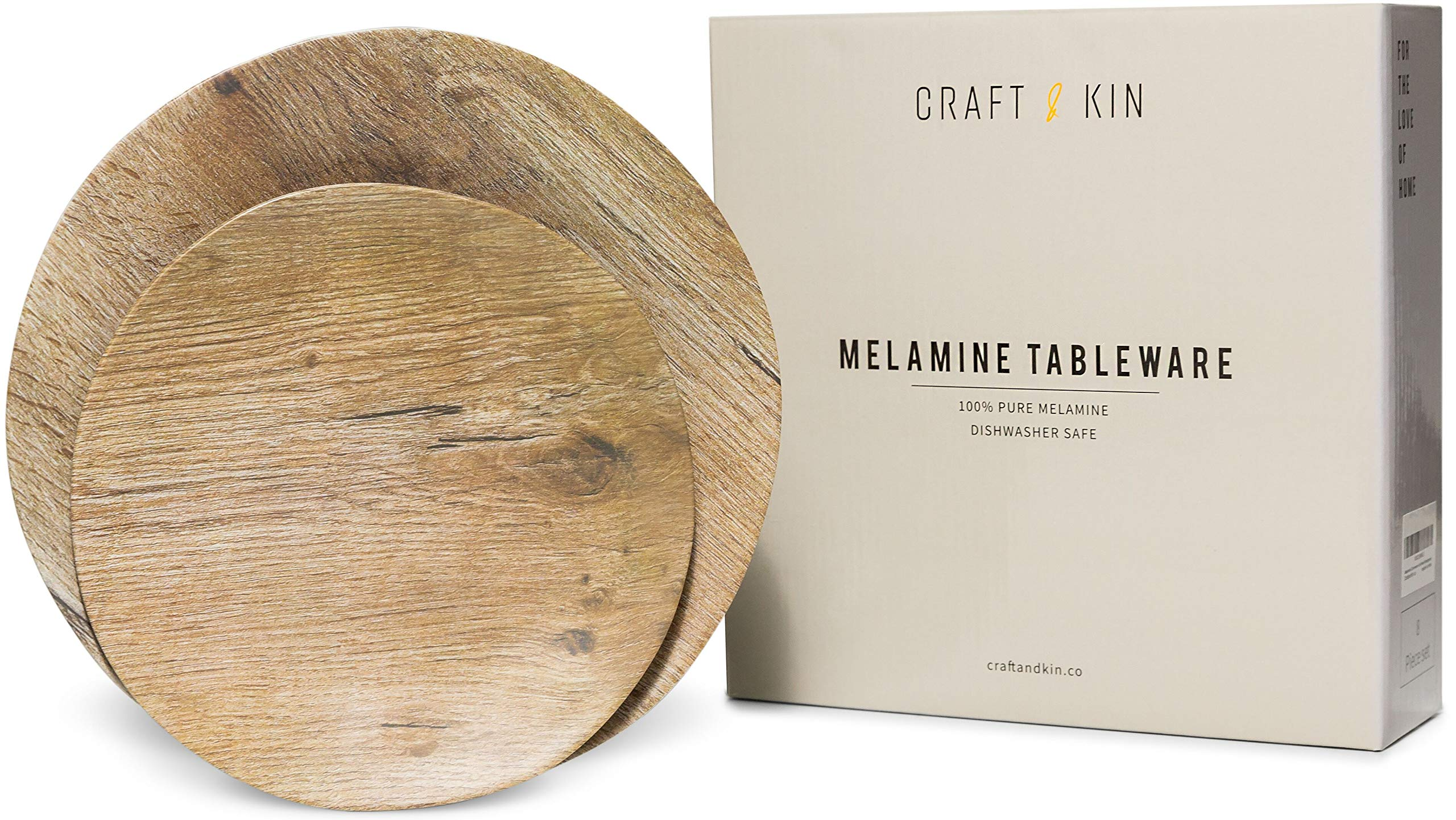 Melamine Dinnerware Set - Melamine Plates 8 Pcs Outdoor Plates Summer Plates and Bowls Sets Dinnerware Unbreakable Plates Ideal Camping Dish Set Dinnerware Set for 4 Dishwasher Safe Plates (Woodgrain) by Craft & Kin (Image #1)
