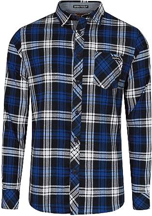 Hombre De Cuadros Tartán Camisas Tokyo Laundry Con Cuello Manga Larga Casual Nuevo - Azul - 1H8165, Small: Amazon.es: Ropa y accesorios