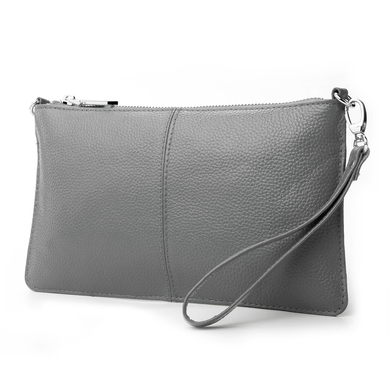 Lecxci Leather Crossbody Purses Clutch Phone Wallets with Card Slots for Women (Grey)