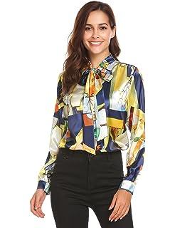 a80264c92d6 Pinspark Women s Fashion Collar Long Sleeve Print Casual Button Down Blouse  Shirt