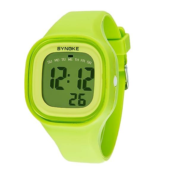 amstt Mujer Chica Student LED reloj de pulsera vibrantes nocturna resistente al agua silicona reloj digital: Amazon.es: Relojes