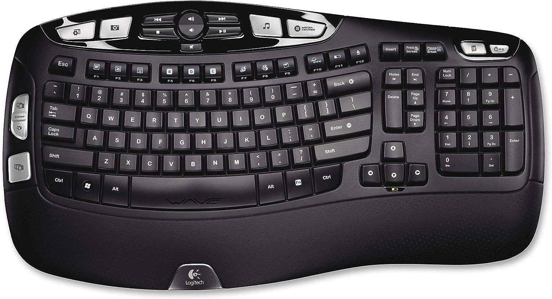 Logitech Wireless Keyboard K350, US RF sans Fil Noir - Claviers (US, sans Fil, RF sans Fil, Noir)
