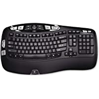 Logitech K350 Wireless Wave Keyboard with Unifying Wireless Technology - Black