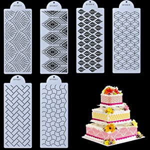 Selftek 6 Pcs Cake Decorating Stencils Floral Cake Templates Cake Printing Hollow Lace Decoration Molds Decorative Flower Edge Tools Food Safe Embossed Fondant Impression Mat for Wedding Birthday Cake