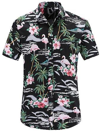d901e2889bdd JEETOO Men s Flowers Flamingos Casual Aloha Hawaiian Shirt Summer Casual(BlackFlamingos