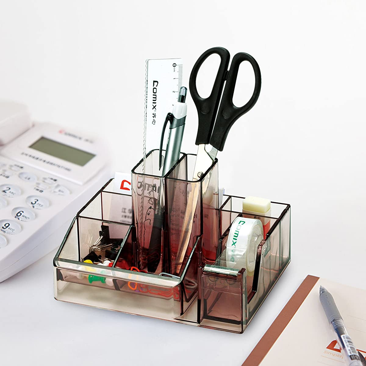 Comix B2250 Office Desk Organizer, 8 Components, Built-in Tape Dispenser, Smoky Grey