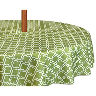 DII Spring & Summer Outdoor Tablecloth, Spill Proof and Waterproof with Zipper and Umbrella Hole, Host Backyard Parties, BBQs, & Family Gatherings - (60  Round - Seats 2 to 4) Fresh Spring Lattice