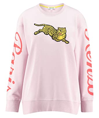 9304fbc8 Kenzo Women's Jumping Tiger Pink Fleece with Maxi Patch: Amazon.co.uk:  Clothing