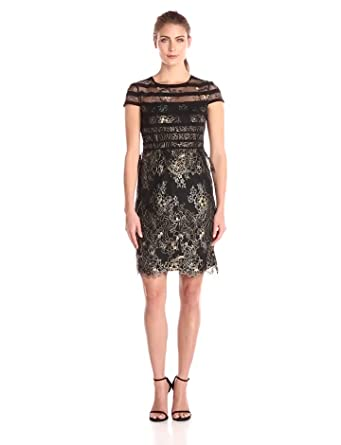 Metallic Lace Dress with Sleeves