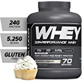 Cellucor COR-Performance Protein Isolate Powder Whipped Vanilla 5lb.   100% Gluten Free + Low Fat Post Workout Muscle Growth Drink for Men & Women   70 Servings