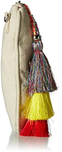 natural Steve Madden Belle Oversized Bohemian Multi Colored Jewels and Rhinestones Fabric Clutch