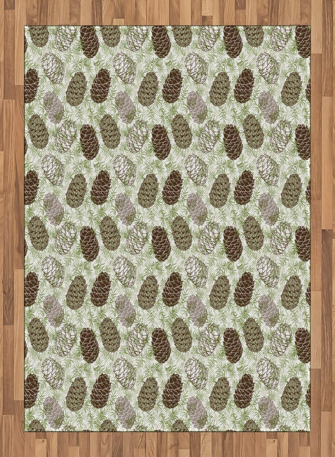 Abakuhaus Pine Cone Area Rug Forest Conifers Greenland Foliage Spruce Tree Woodland Style Botany Flat Woven Accent Rug For Living Room Bedroom Dining Room 5 2 X 7 5 Fern Green Brown Taupe Amazon Co Uk Kitchen Home