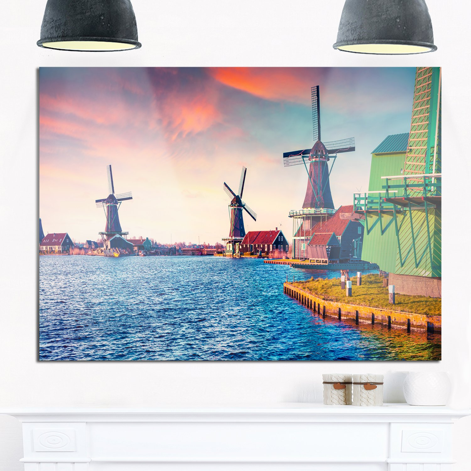 Designart MT14584-628 Zaandam Mills on Water Channel Large Landscape Art Glossy Metal Wall Art, 70x28', Blue