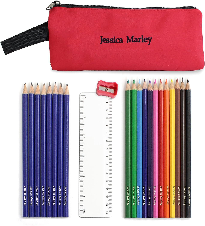 Rojo Estuche para lápices y contenido personalizado. Este es un gran producto que puede ser personalizado para sus necesidades (ver discription principal para más detalles) ideal regalos y Regalos para bodas, bautizos,