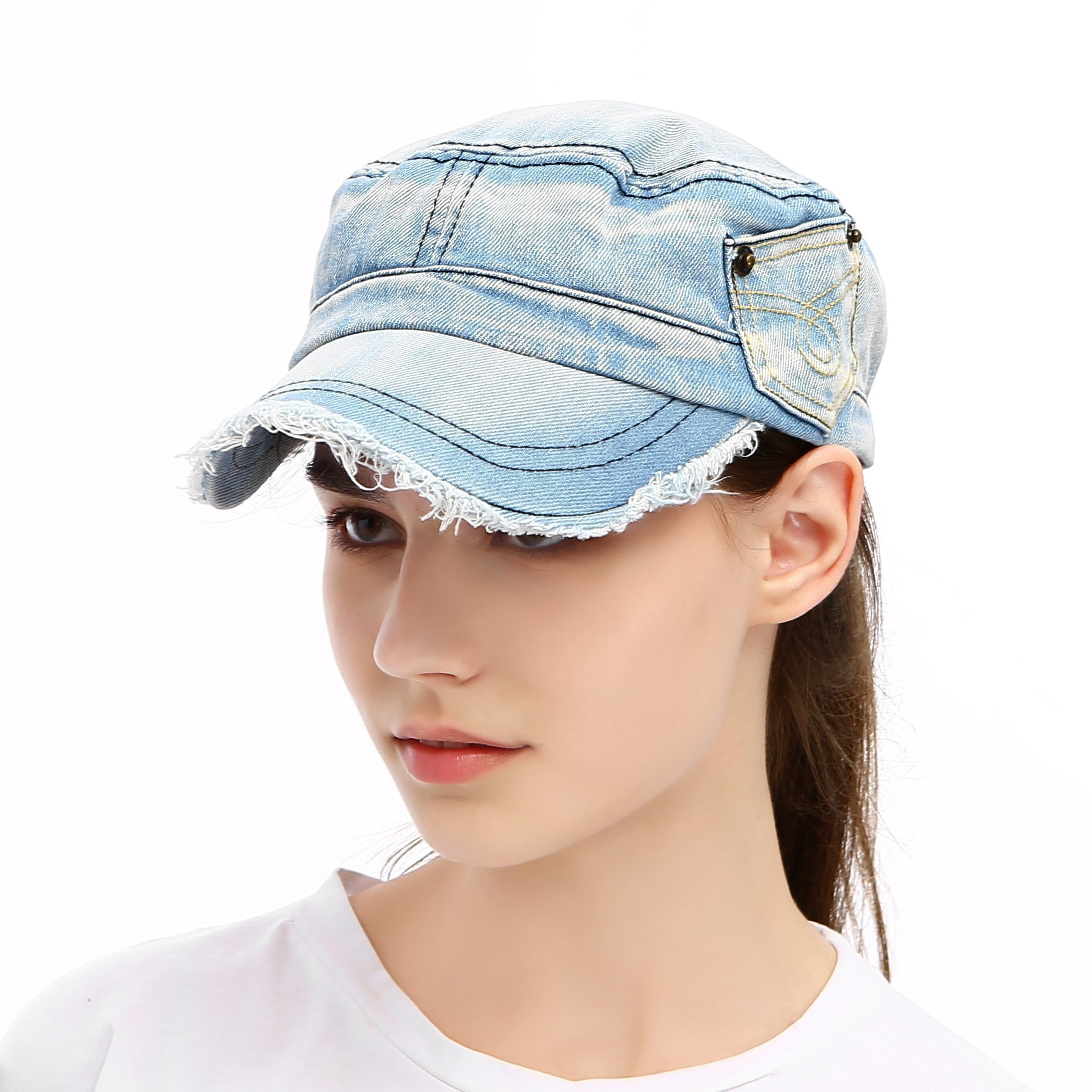 Vankerful Vintage Washed Denim Cotton Peaked Baseball Cap for Men and Women Distressed Cadet Army Cap Military Style Corps Hat Cap Visor Flat Top Adjustable Baseball Hat Light Blue