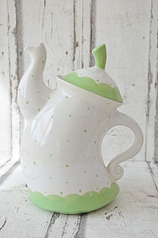 Tanzende Teekanne,mint, Punkte,1,5l, aus Keramik