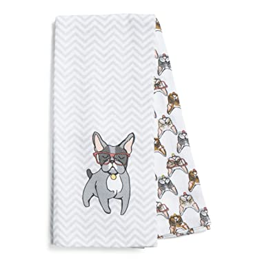 French Bulldog with Eyeglasses Set of 2 Kitchen Towels 100 Percent Cotton