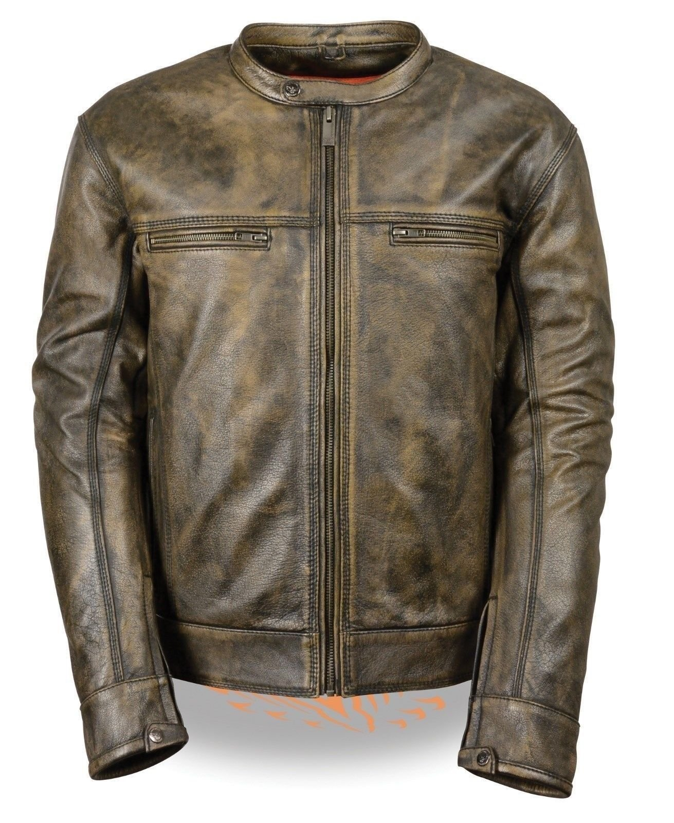 MEN'S MOTORCYCLE DISTRESSED BROWN SPORTY SCOOTER LEATHER JACKET W/2 GUN POCKETS (5XL Regular)