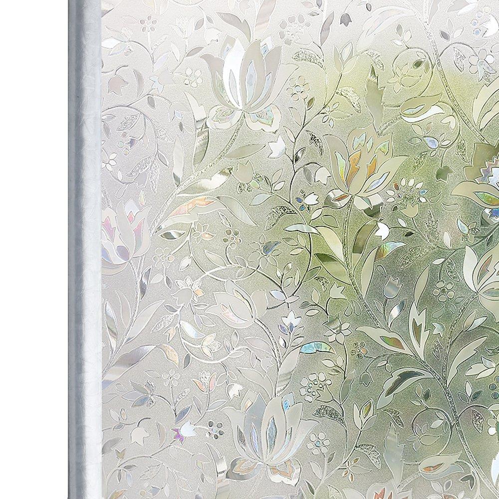 Homein Window Film Decorative Glass Films 3D Rainbow Window Sticker Static Cling No Glue & Self Adhesive Privacy Door Windows Stickers Artscape Window Tint for Bathroom Decoration, Heat Control & Anti UV,Tulip Flowers Pattern, 17.5 Inch By 78.7 Inc