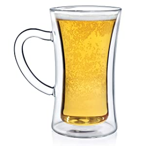 Dragon Glassware Beer Stein, Premium Designer Mug with Insulated Double-Walled Design, 13.5-Ounces, Gift Boxed