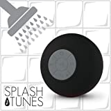 Splash Tunes Shower Speaker - Waterproof Bluetooth Shower Speaker, Portable, Hands-Free, Wireless, Water Resistant, Shower Speaker with Built-in Mic and Suction Cup - Black