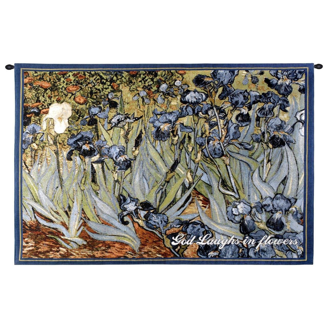 Pure Country Weavers Irises With Inspiration Wall Tapestry 2603-WH 53 inches wide by 38 inches long, 100% cotton by Pure Country Weavers