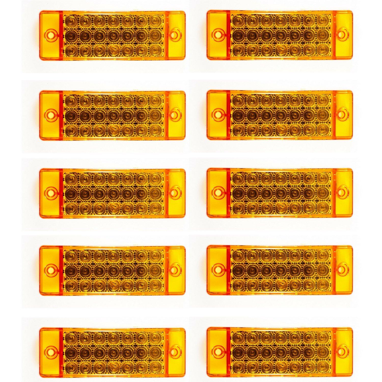 [ALL STAR TRUCK PARTS] Qty 10 - Amber 21 LED Side Marker Clearance Light Rectangle 12V Truck Trailer Camper