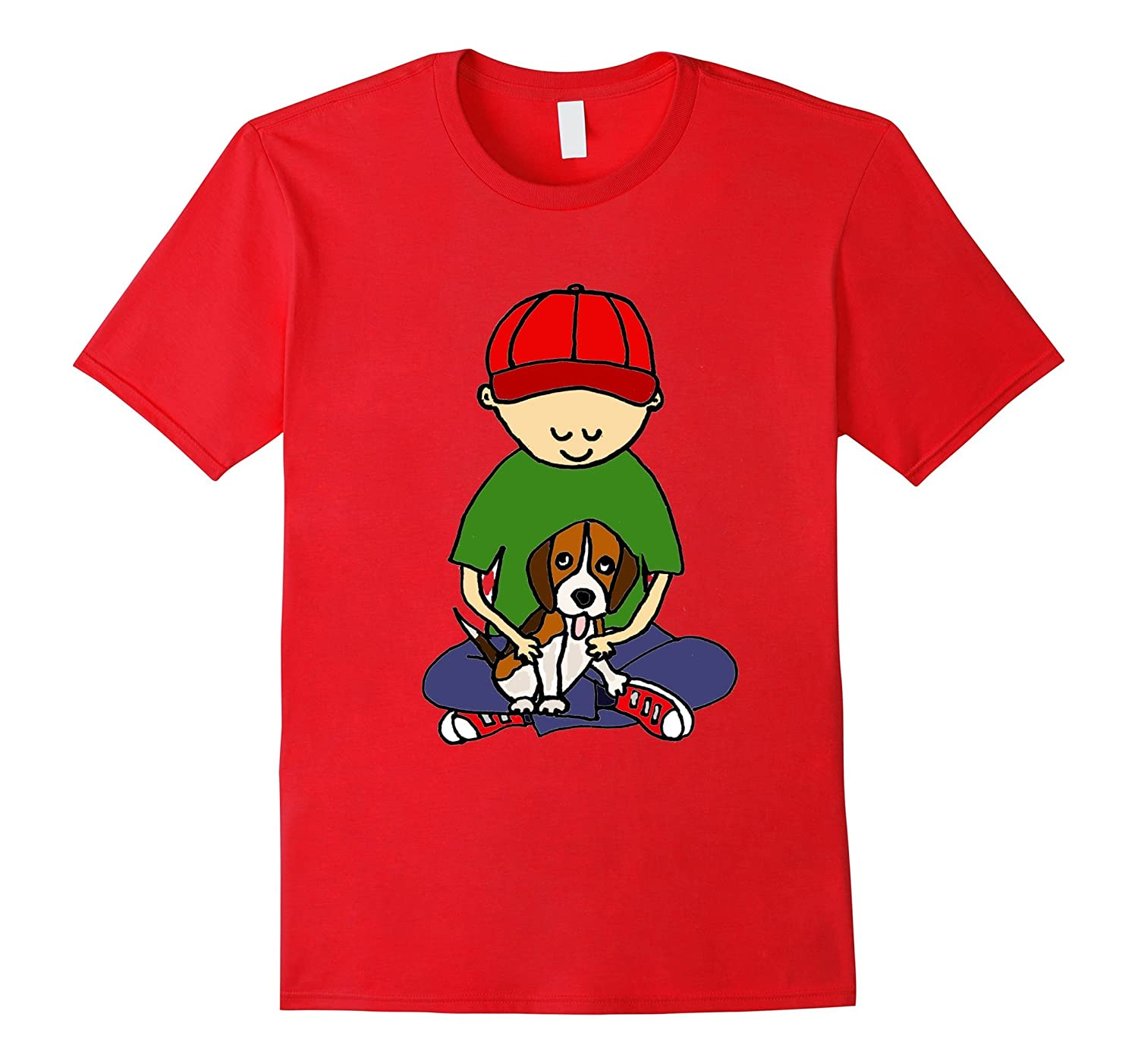 Smiletodaytees Cute Boy Hugging Beagle Dog T-shirt-BN